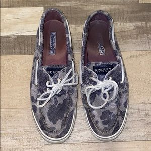 Blue and Silver Cow Print Sperry Top SiderS